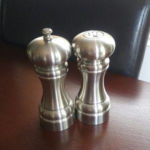 Salt & Pepper shakers set brushed steel nickel